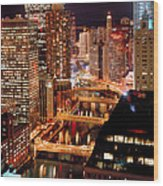 Chicago River At Night Wood Print