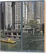 Chicago River Boat Rides 2 Panel Wood Print