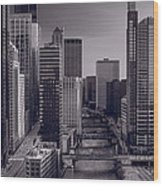 Chicago River Bridges South Bw Wood Print