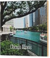 Chicago River Front Wood Print