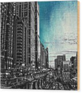 Chicago River Hdr Sc Textured Wood Print