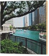 Chicago River Scene Wood Print