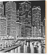 Chicago River Skyline At Night Black And White Picture Wood Print