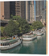 Chicago River Tour Boats Wood Print