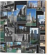Chicago River Walk Collage Wood Print