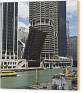 Chicago River Walk Construction Wood Print
