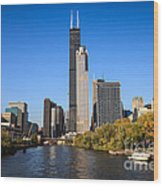 Chicago River With Willis-sears Tower Wood Print