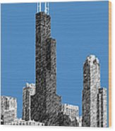 Chicago Sears Tower - Slate Wood Print