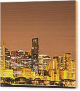 Chicago Skyine At Night Panoramic Photo Wood Print