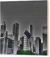 Chicago Skyline 1 Bwc Wood Print