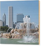 Chicago Skyline And Fountain Wood Print