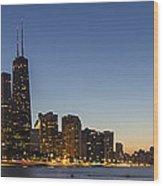 Chicago Skyline At Dusk 3 To1 Aspect Ratio Wood Print