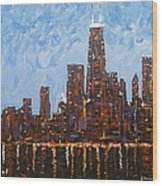 Chicago Skyline At Night From North Avenue Pier Wood Print