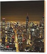 Chicago Skyline At Night I Wood Print
