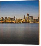 Chicago Skyline At Sunset Wood Print