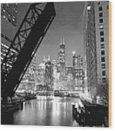 Chicago Skyline - Black And White Sears Tower Wood Print by Horsch Gallery