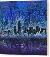 Chicago Skyline Blue Version Wood Print