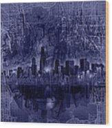 Chicago Skyline Blueprint Wood Print