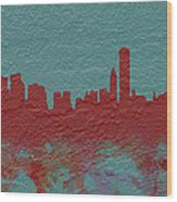 Chicago Skyline Brick Wall Mural  Wood Print