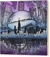 Chicago Skyline Drawing Collage 2 Wood Print