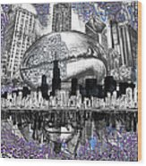 Chicago Skyline Drawing Collage Wood Print
