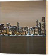 Chicago Skyline - Fog Rolling In Wood Print