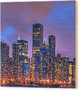 Chicago Skyline From Navy Pier View 2 Wood Print