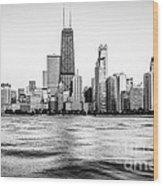 Chicago Skyline Hancock Building Black And White Photo Wood Print