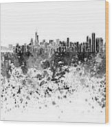 Chicago Skyline In Black Watercolor On White Background Wood Print