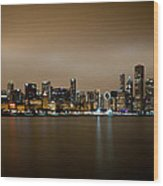 Chicago Skyline In Fog With Reflection Wood Print