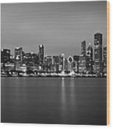 Chicago Skyline In Fog With Reflection - Black And White Wood Print