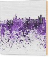 Chicago Skyline In Purple Watercolor On White Background Wood Print