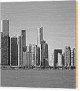 Chicago Skyline In Shades Of Grey Wood Print