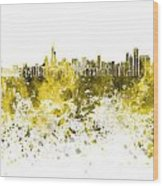 Chicago Skyline In Yellow Watercolor On White Background Wood Print