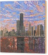 Chicago Skyline - Lake Michigan Wood Print