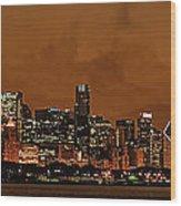 Chicago Skyline Panorama At Dusk Wood Print