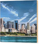 Chicago Skyline Panorama Wood Print