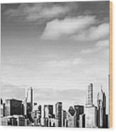 Chicago Skyline Panoramic Black And White Picture Wood Print