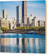 Chicago Skyline Picture With Hancock Building Wood Print