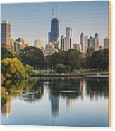 Chicago Skyline Reflection Wood Print