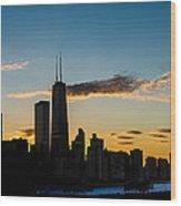 Chicago Skyline Silhouette Wood Print by Steve Gadomski