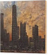 Chicago Skyline Silhouette Wood Print by Tom Shropshire