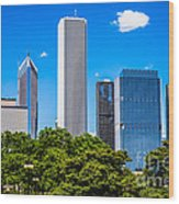 Chicago Skyline With Grant Park Trees Wood Print