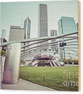 Chicago Skyline With Pritzker Pavilion Vintage Picture Wood Print