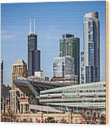 Chicago Skyline With Soldier Field And Sears Tower  Wood Print