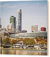 Chicago Skyline With Soldier Field Wood Print by Paul Velgos