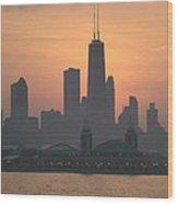 Chicago Sunset Wood Print