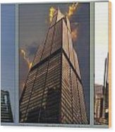 Chicago Tall Shoulders Trump Sears 333 Wacker Triptych 3 Panel 03 Wood Print