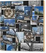 Chicago The Bean Collage Wood Print