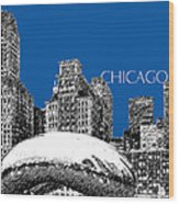 Chicago The Bean - Royal Blue Wood Print by DB Artist